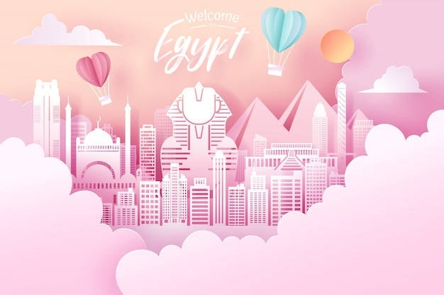 Corte de papel de egipto hito, viajes y turismo concepto.