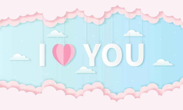 Corte de papel feliz día de san valentín concepto. paisaje con texto te amo y forma de corazón en el cielo azul
