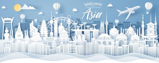 Corte de papel del hito de asia, tailandia, singapur, japón, india, corea, china y hong kong. concepto de viajes y turismo de asia.