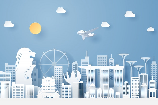 Corte de papel de hito singapur, concepto de viajes y turismo,