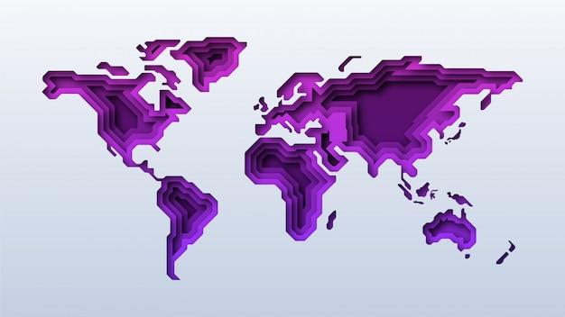 Corte de papel del mapa mundial púrpura