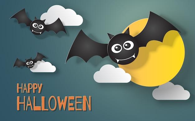 Corte de papel de murciélagos de halloween volando en el cielo con luna llena