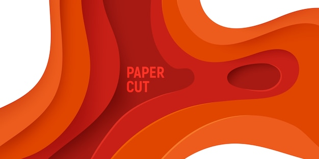 Corte de papel naranja con fondo abstracto de limo 3d y capas de ondas naranjas.