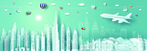 Corte de papel del paisaje urbano de los emiratos árabes unidos con avión