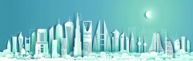 Corte de papel del paisaje urbano de jordania con avión