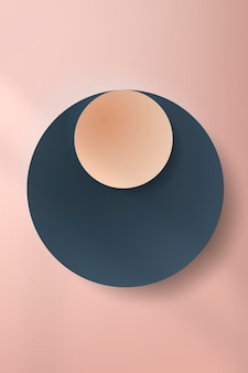 Corte de papel redondo colorido con sombra sobre fondo rosa pálido
