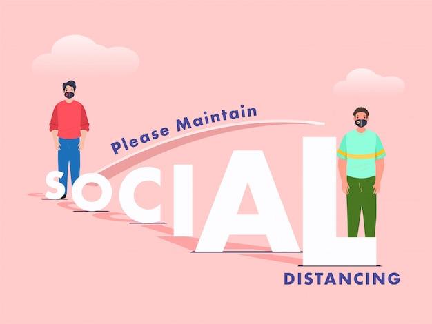 Corte de papel texto social y hombre de dibujos animados medición de distancia de otra persona