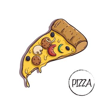 Corte la pizza con queso y un delicioso aderezo con un estilo de doodle de colores