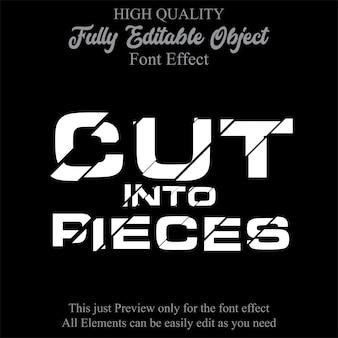 Corte de texto estilo efecto de fuente editable