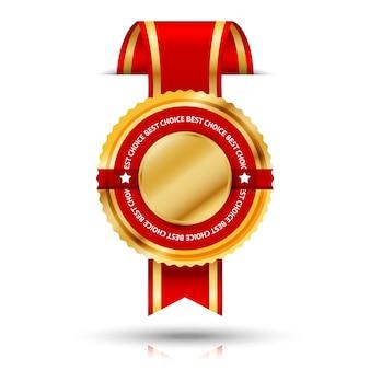 Corte a través de la etiqueta de mejor vendedor dorada y roja premium de la pared
