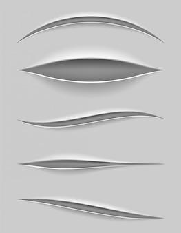 Cortes de papel realistas con un cuchillo con fondo transparente.
