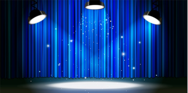 Cortina azul brillante con iluminación brillante, escenario de teatro retro
