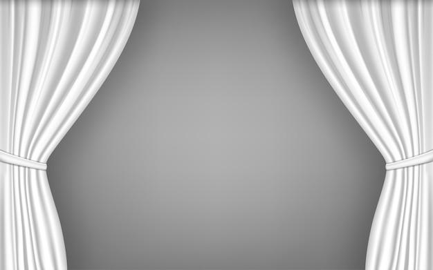 Cortina blanca abierta. ilustración