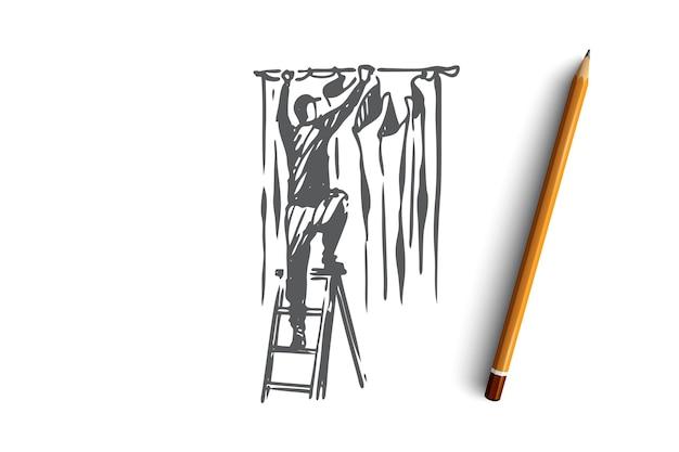 Cortina colgante, decoración, tela, concepto de tela. dibujado a mano hombre colgando de la cortina en el bosquejo del concepto de casa. ilustración.