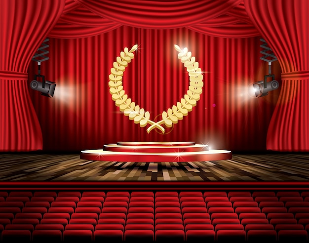 Cortina de escenario roja con focos y corona de laurel dorada