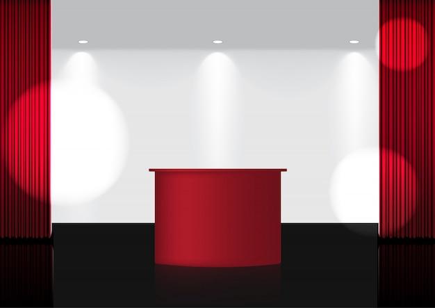 Cortina roja abierta 3d realista en el escenario de premio rojo o cine para espectáculo, concierto o presentación con spotlight