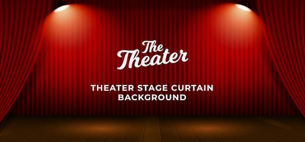 La cortina roja del escenario del teatro con la base de piso de madera y la lámpara brillante doble del proyector vector la ilustración. telón de fondo con plantilla de texto