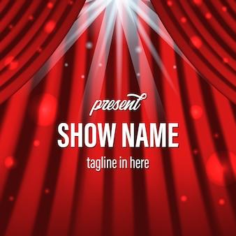 Cortina roja con foco de iluminación y plantilla de título