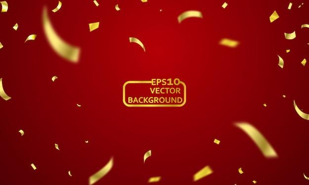 Cortina roja de fondo. gran evento de apertura de diseño. cintas de confeti de oro.