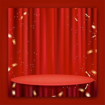 Cortina roja realista y mantel para promoción de publicaciones en redes sociales.