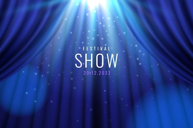Cortina de teatro azul con luces como espectáculo, banner de presentación