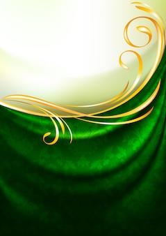 Cortina de tela verde con adorno