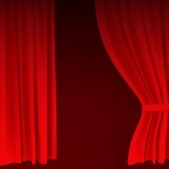 Cortina de terciopelo rojo colorido realista doblada. opción de cortina en casa en el cine. ilustración.