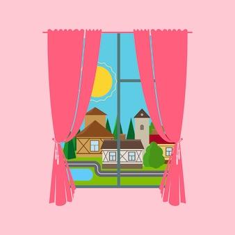 Cortina de ventana rosa con paisaje de la ciudad.