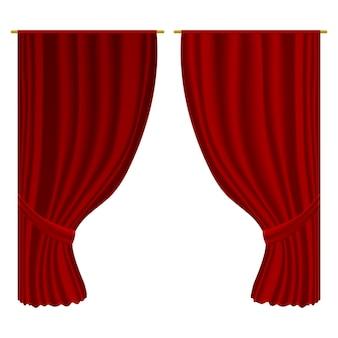 Cortinas abiertas. cortinas de decoración textil de terciopelo realista. cortinas rojas abiertas de lujo, entretenimiento en el escenario, decoración interior.