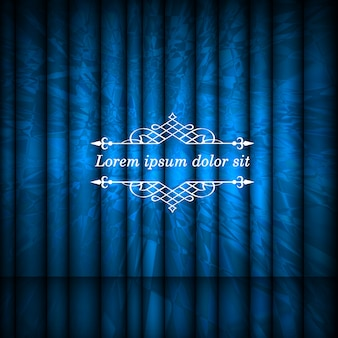 Cortinas abstractas azules y marco de borde vintage con espacio de copia para texto