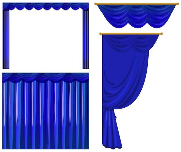 Cortinas azules aisladas