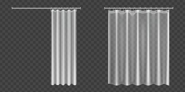 Cortinas de baño transparentes abiertas y cerradas