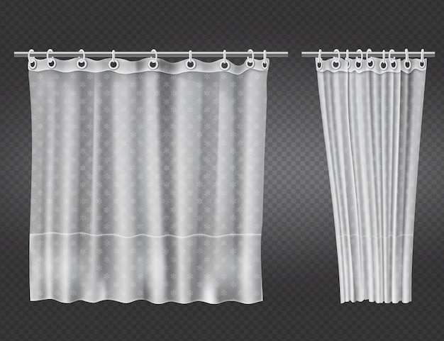 Cortinas de baño transparentes blancas abiertas y cerradas
