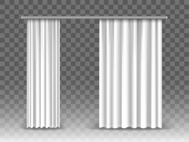 Cortinas blancas aisladas sobre fondo transparente. cortinas realistas colgadas en varillas de metal.
