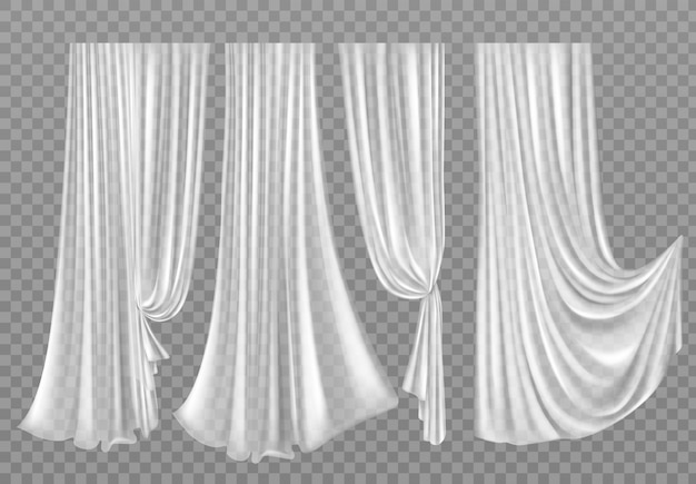 Cortinas blancas aisladas en transparente