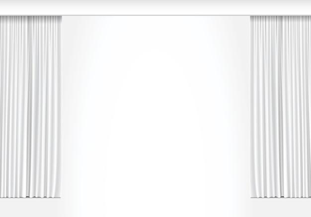 Cortinas blancas sobre fondo blanco.