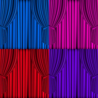 Cortinas de colores de malla de vector para el escenario del teatro