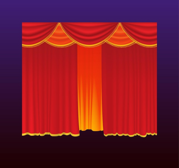 Cortinas: cortinas rojas vectoriales realistas. fondo degradado. imágenes prediseñadas de alta calidad para presentaciones, pancartas y folletos, que representan ilustraciones de cine, conciertos y premios.