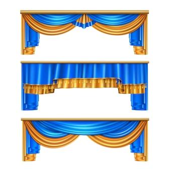 Las cortinas drapeadas de lujo azul dorado de volumen completo establecen 3 realistas decoraciones de ventanas para el hogar ideas ilustración aislada
