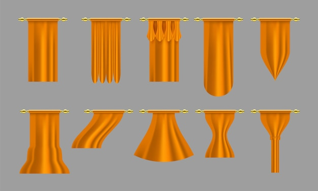 Cortinas de oro. conjunto de cortina de lujo realista decoración de cornisa tela doméstica interior cortinas textiles lambrequin, conjunto de cortinas de ilustración vectorial