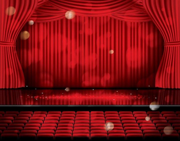 Cortinas rojas abiertas con asientos y copie el espacio. escena de teatro, ópera o cine. luz en un piso.