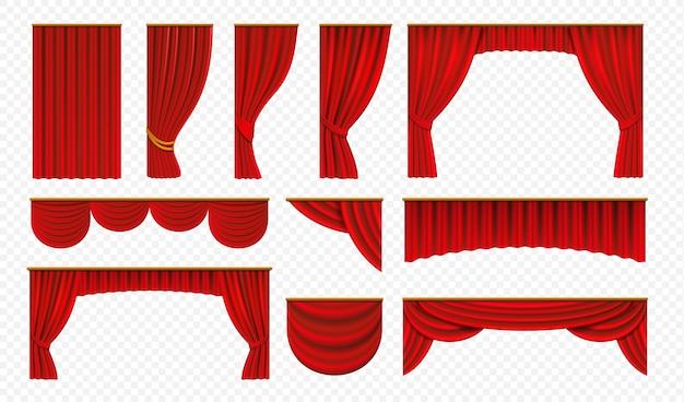 Cortinas rojas realistas. cortinas de escenario de teatro, decoración de portada de boda de lujo, bordes teatrales