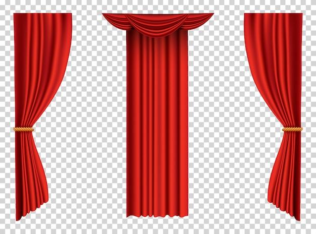Cortinas rojas realistas. decoración de seda de tela de teatro para cine o sala de ópera. objeto de decoración de interiores de cortinas y cortinas. aislado en transparente para escenario de teatro.