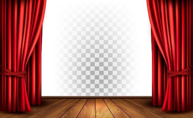 Cortinas de teatro con fondo transparente. vector.