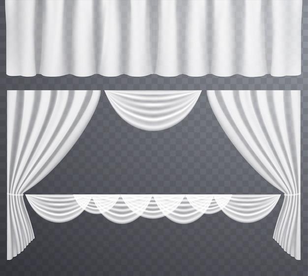 Cortinas transparentes blancas abiertas y cerradas.