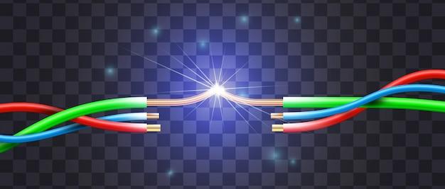 Cortocircuito realista por el ejemplo de una rotura de tres cables en aislamiento de varios colores