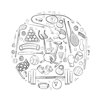 Cosas de deportes activos vector iconos conjunto de doodle