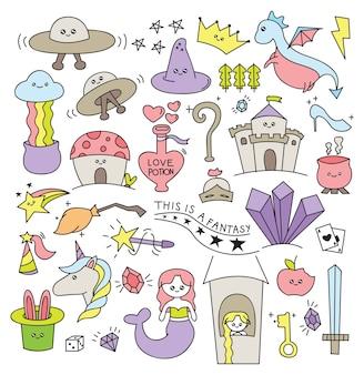 Cosas de fantasía en la ilustración de vector de estilo doodle