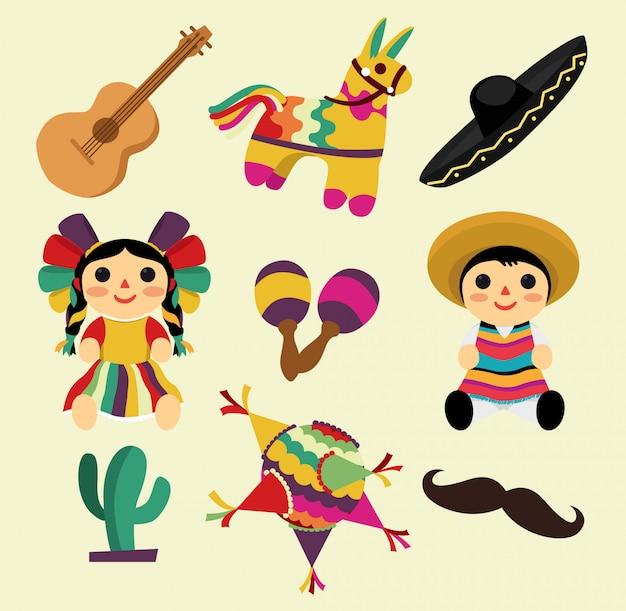 Cosas mexicanas, piñatas, sombreros, juguetes e instrumentos