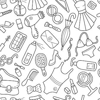 Cosas de mujeres, cosméticos y ropa de patrones sin fisuras en estilo doodle.